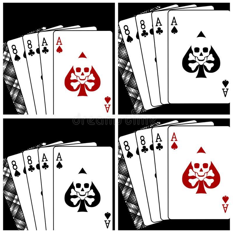 Cartões de jogo da mão de Deadman ilustração stock