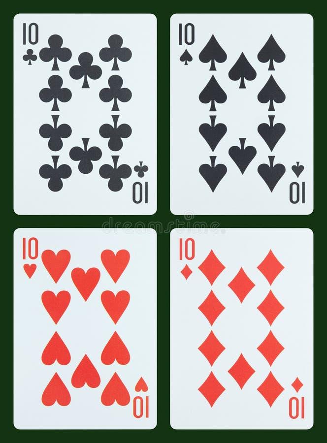 Cartões de jogo - dez ilustração stock