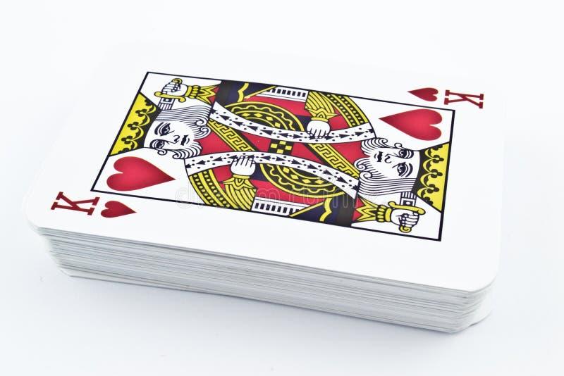 Cartões de jogo do cartão para jogos de cartas - rei Hearts imagens de stock