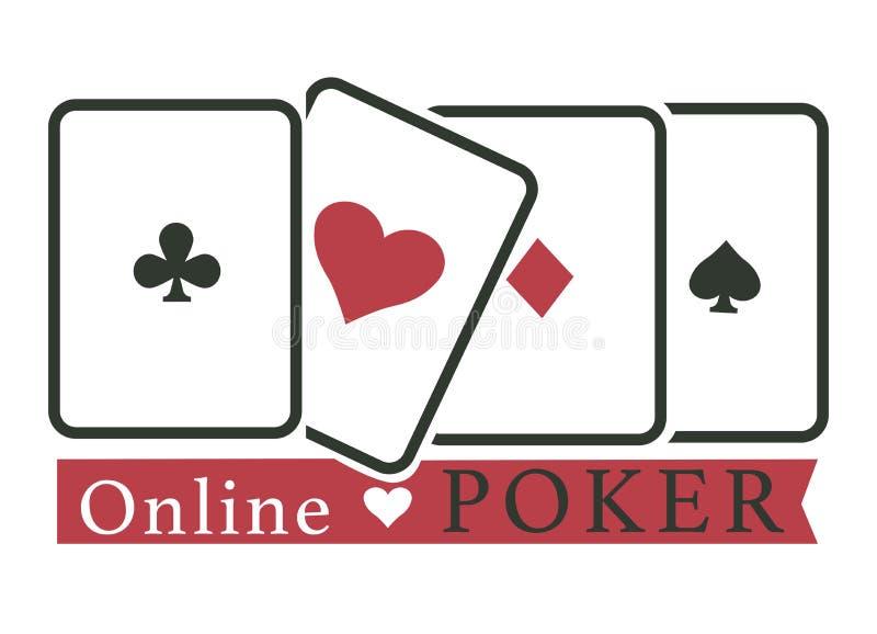 Cartões de jogo do jogo do casino em linha do clube do pôquer ilustração do vetor