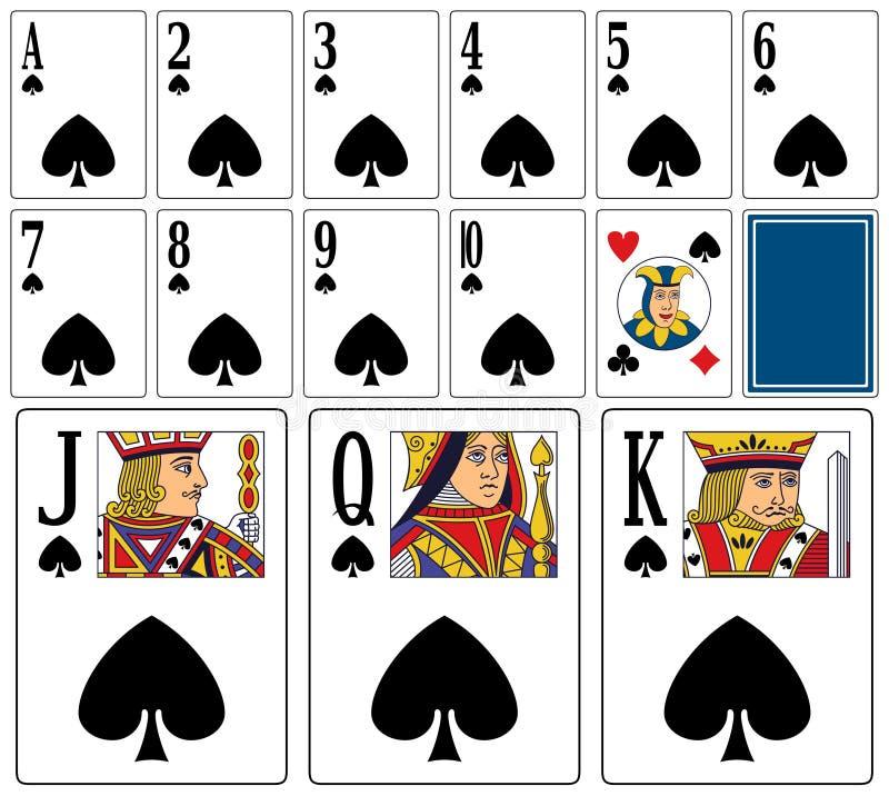 Cartões de jogo do casino - pás ilustração royalty free