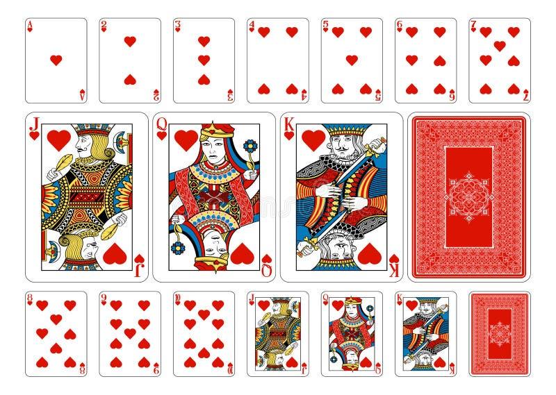 Cartões de jogo do coração do tamanho do pôquer mais o reverso ilustração royalty free