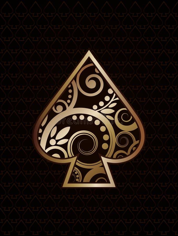 Cartões de jogo do póquer do ás de Spade´s ilustração royalty free