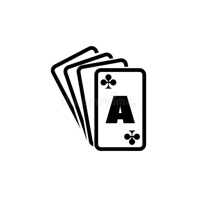 Cartões de jogo do pôquer, ternos de Ace, ícone liso real do vetor da pá ilustração royalty free