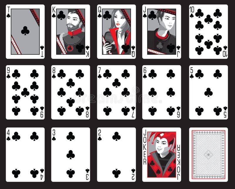 Cartões de jogo dos clubes ilustração do vetor