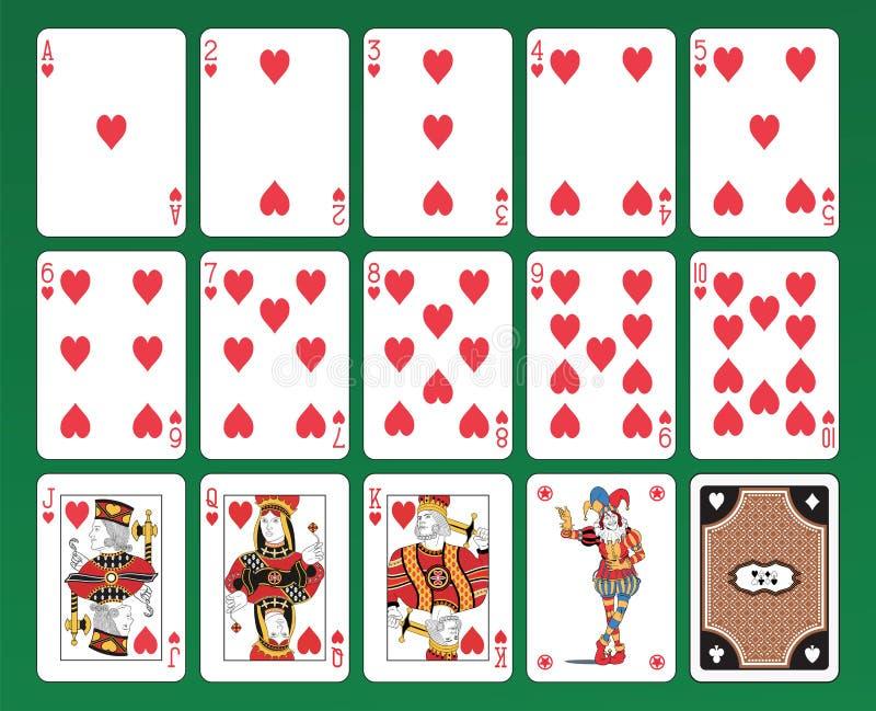 Cartões de jogo dos corações ilustração stock