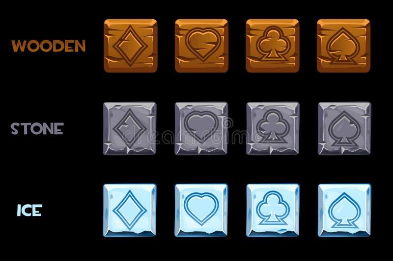 Cartões de jogo dos símbolos da textura do vetor Pedra, madeira e quadrados do gelo Ícones dos desenhos animados para o casino do ilustração stock