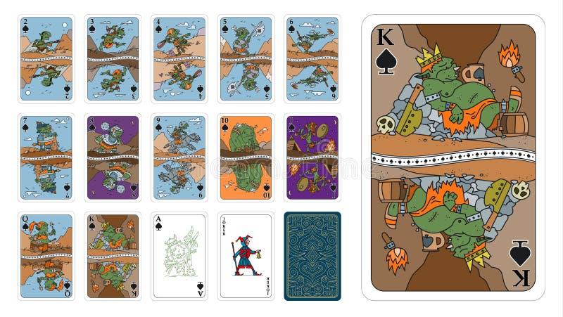 Cartões de jogo em pás do estilo da fantasia como desenhos animados das pescas à corrica fotos de stock