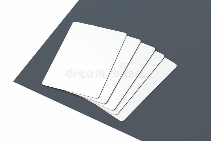 Cartões de jogo isolados no fundo minimalistic monocromático rendição 3d ilustração stock