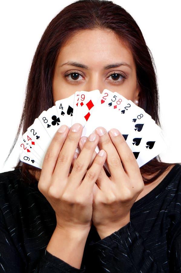 Cartões de jogo latino-americanos da mulher imagens de stock royalty free