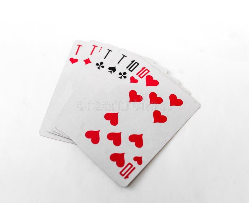 Cartões de jogo 10 no branco imagens de stock royalty free