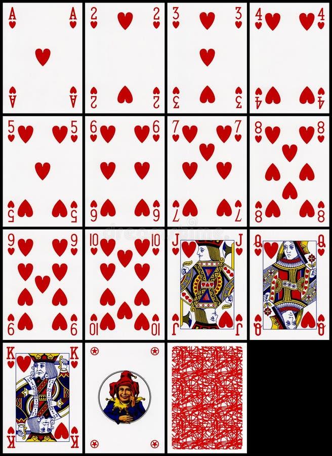 Cartões de jogo - o terno dos corações ilustração do vetor