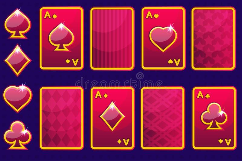 Cartões de jogo de pôquer do vermelho quatro dos desenhos animados e parte traseira de cartão Elementos do GUI do vetor ilustração stock