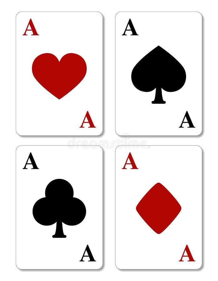 Cartões de jogo, quatro ás ilustração do vetor