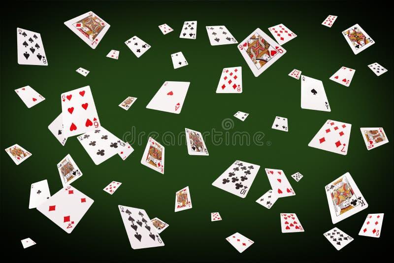 Cartões de jogo que voam na tabela do pôquer ilustração do vetor