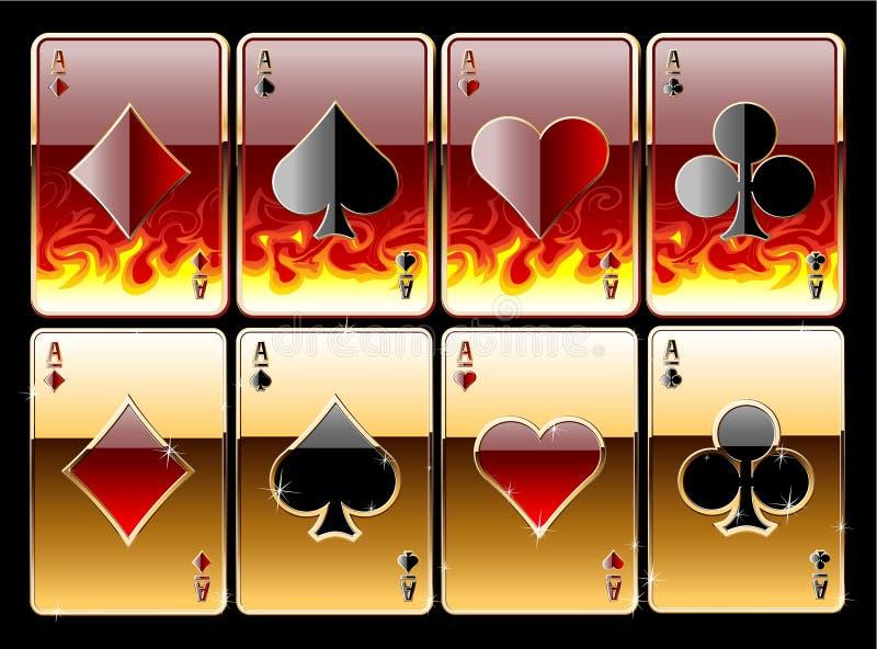 Cartões de ?laying no incêndio ilustração stock