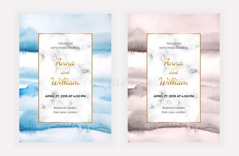Cartões de mármore do convite do casamento com textura da aquarela O molde para a celebração, bandeira do projeto moderno, salvar ilustração do vetor