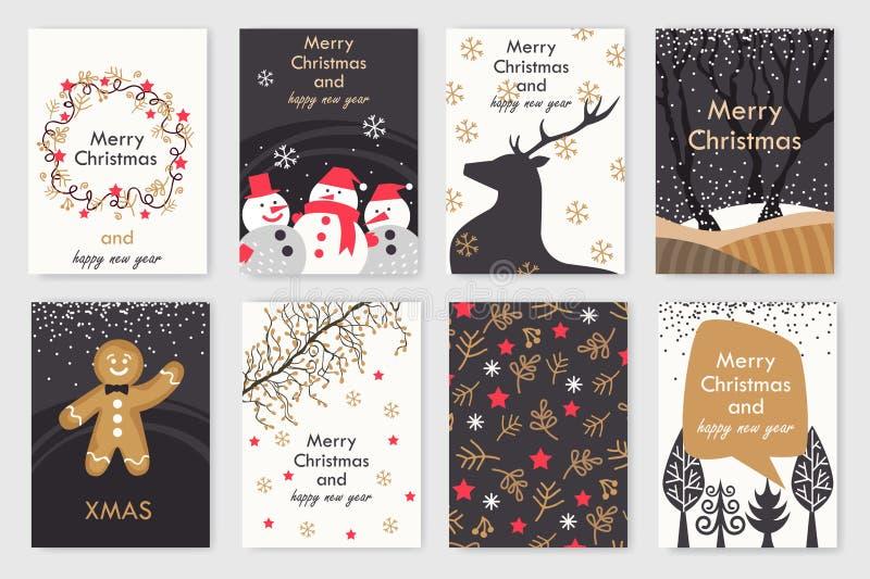 Cartões de Natal coloridos ilustração do vetor