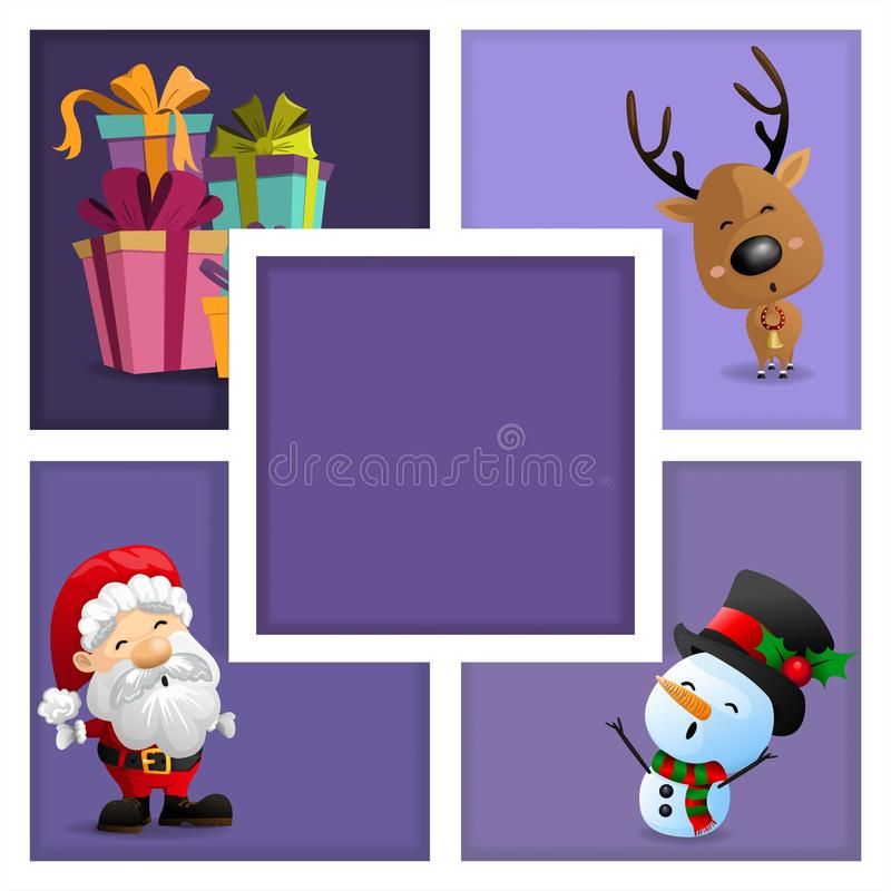 Cartões de Natal com Santa, boneco de neve, caixa de presente e rena ilustração stock