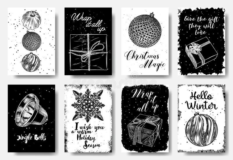 Cartões de Natal criativos modernos e clássicos em preto e branco ilustração do vetor