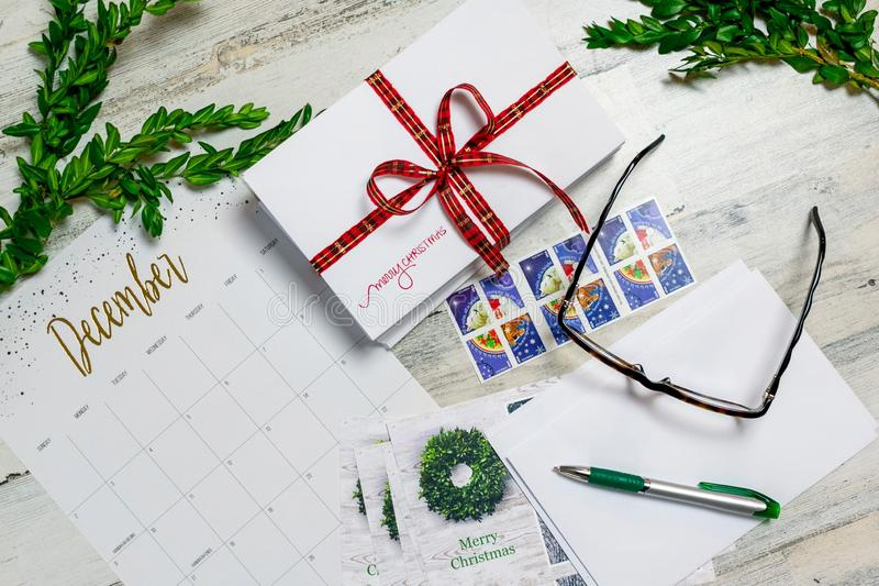 Cartões de Natal da escrita imagem de stock
