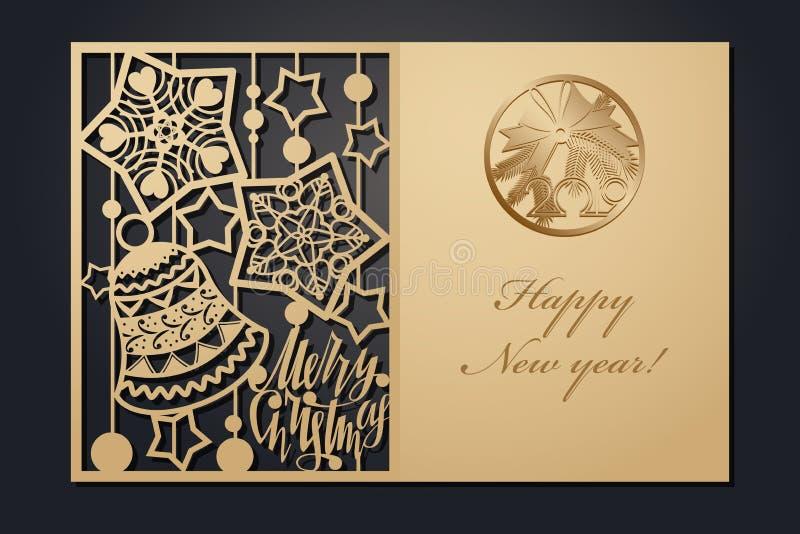 Cartões de Natal do molde para o corte do laser Através da imagem de ano novo da silhueta Ilustração do vetor ilustração stock