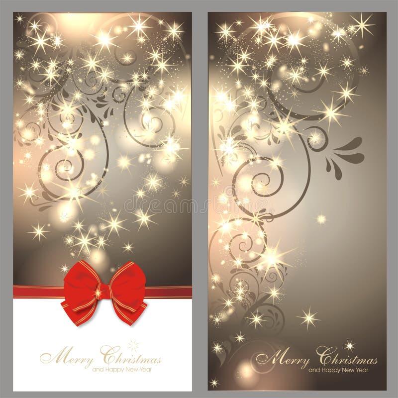 2 cartões de Natal mágicos ilustração stock