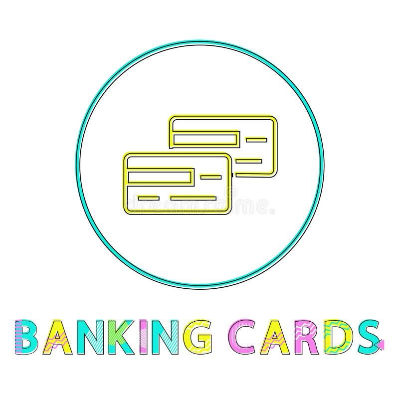 Cartões de operação bancária isolados nos ícones brancos do fundo ilustração royalty free