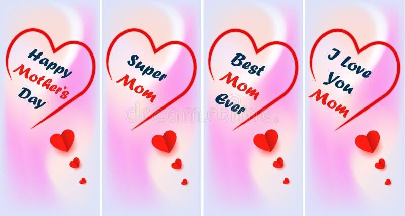 Cartões de saudação adequados para o dia das mães fotos de stock royalty free