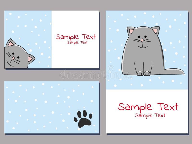 Cartões de Snowcat ilustração stock