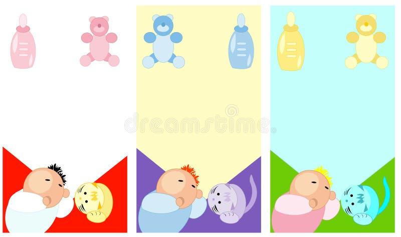 Cartões de sono do bebê e dos acessórios ilustração royalty free