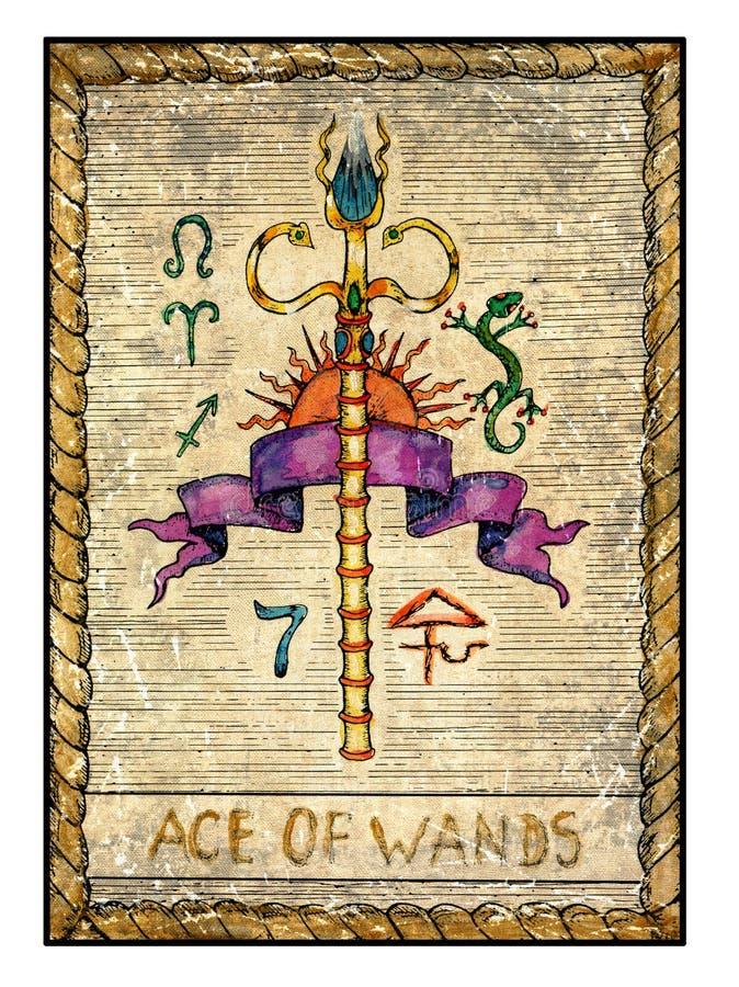 Cartões de tarô velhos Plataforma completa Ace das varinhas ilustração royalty free