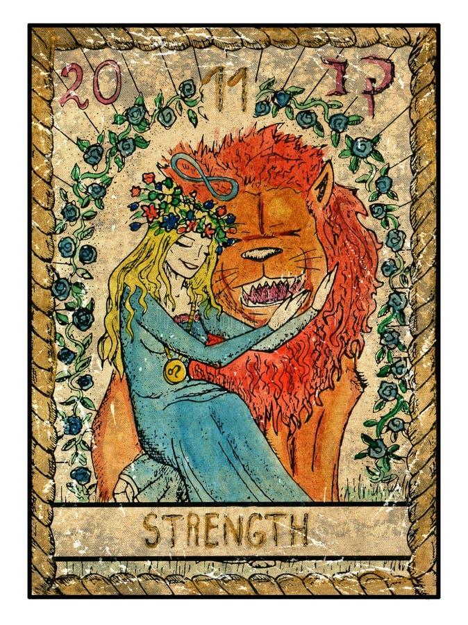 Cartões de tarô velhos Plataforma completa força ilustração royalty free
