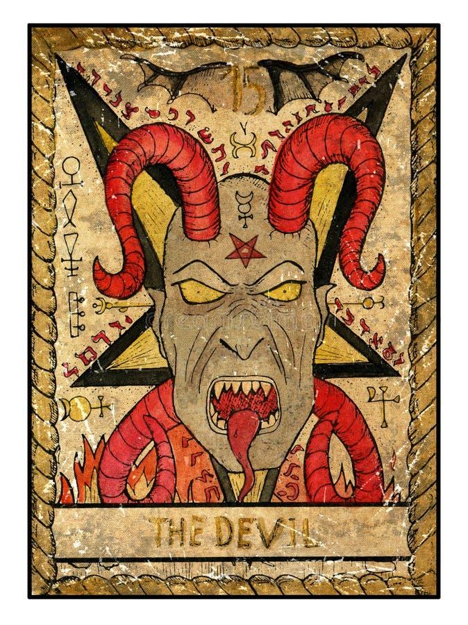 Cartões de tarô velhos Plataforma completa O diabo ilustração do vetor