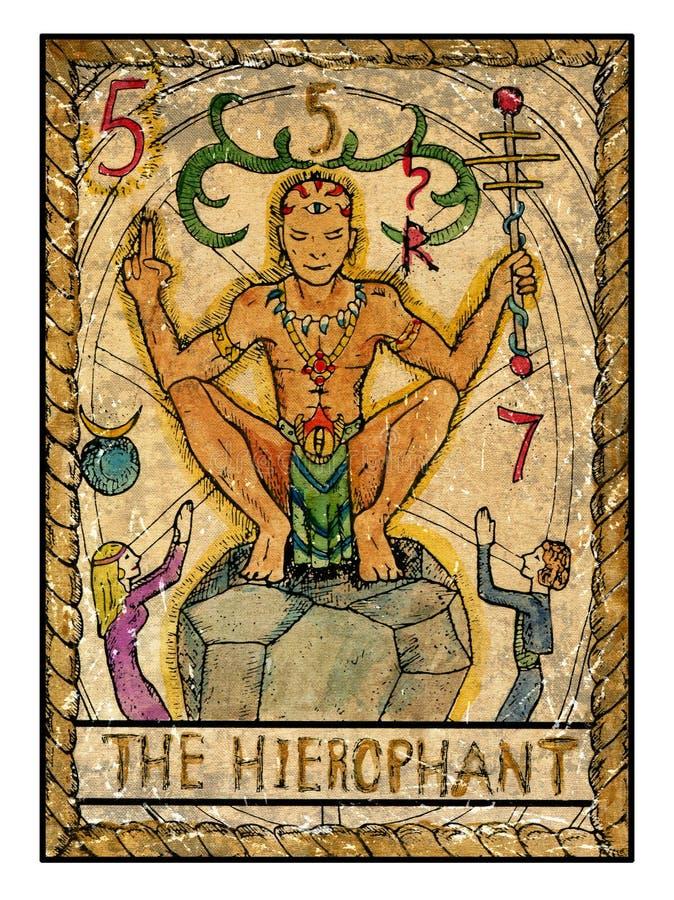Cartões de tarô velhos Plataforma completa O hierophant ilustração do vetor