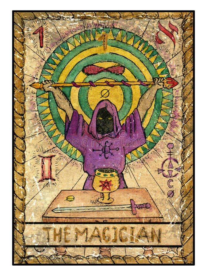 Cartões de tarô velhos Plataforma completa O mágico ilustração royalty free