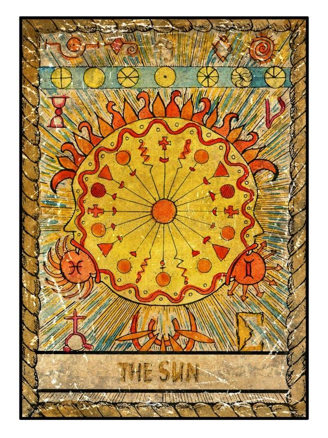 Cartões de tarô velhos Plataforma completa O sol ilustração royalty free