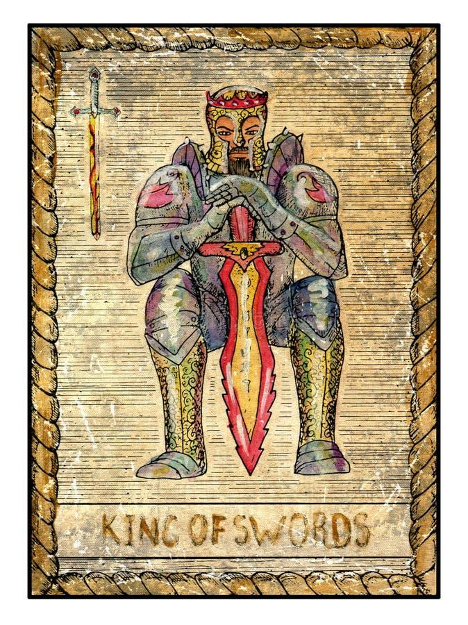 Cartões de tarô velhos Plataforma completa Rei das espadas ilustração do vetor