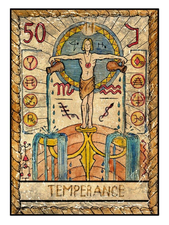 Cartões de tarô velhos Plataforma completa temperance ilustração do vetor