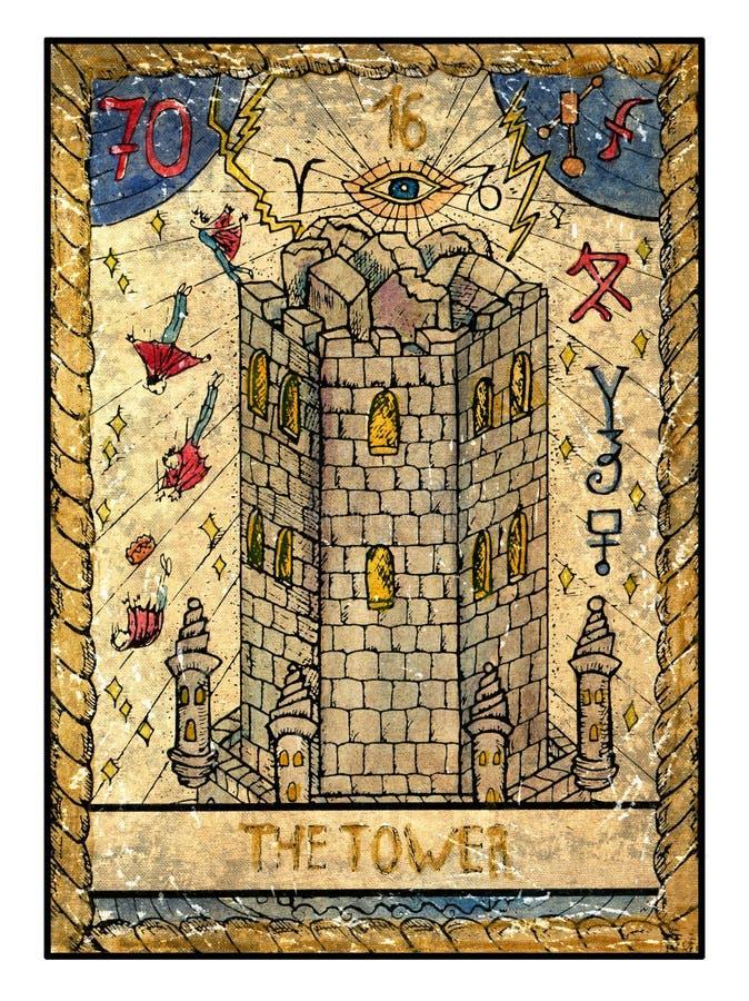 Cartões de tarô velhos Plataforma completa A torre ilustração royalty free