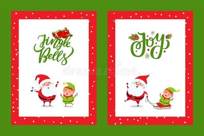 Cartões do ano novo feliz com Santa Singing Carols ilustração royalty free