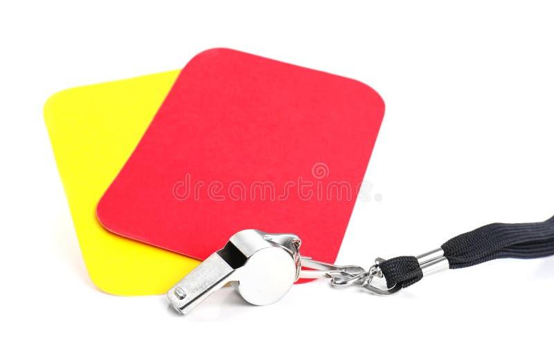 Cartões do assobio, os vermelhos e os amarelos foto de stock