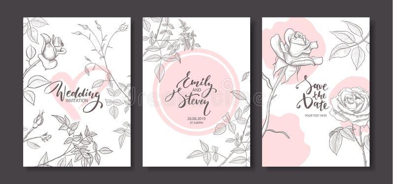 Cartões do convite do casamento com as rosas tiradas mão O cartaz floral, convida Cartão decorativo do vetor, fundo do projeto do ilustração do vetor