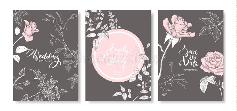 Cartões do convite do casamento com as rosas tiradas mão O cartaz floral, convida Cartão decorativo do vetor, fundo do projeto do ilustração stock
