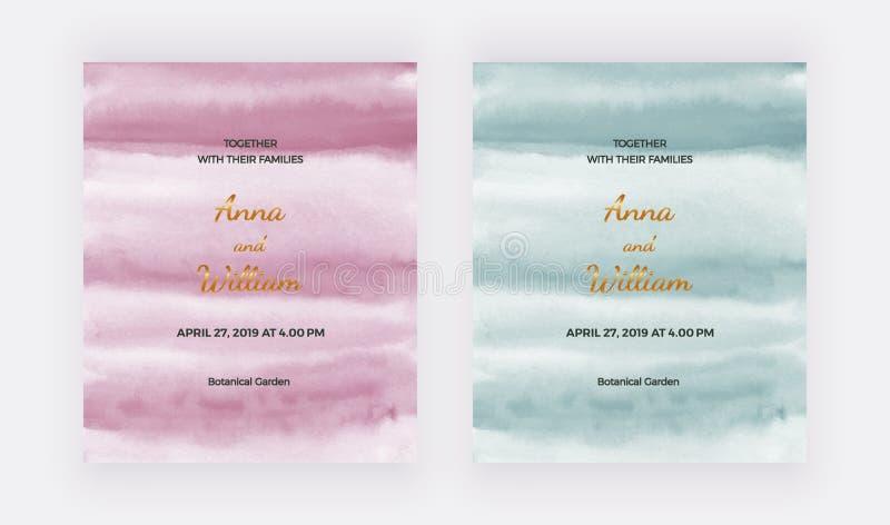 Cartões do convite do casamento com rosa, textura verde da aquarela Molde moderno da pintura da mão para a bandeira do cartão, in ilustração do vetor