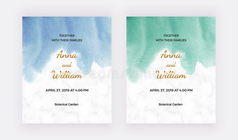 Cart?es do convite do casamento com textura azul, verde da aquarela Molde moderno da pintura da m?o para a bandeira do cart?o, in ilustração royalty free