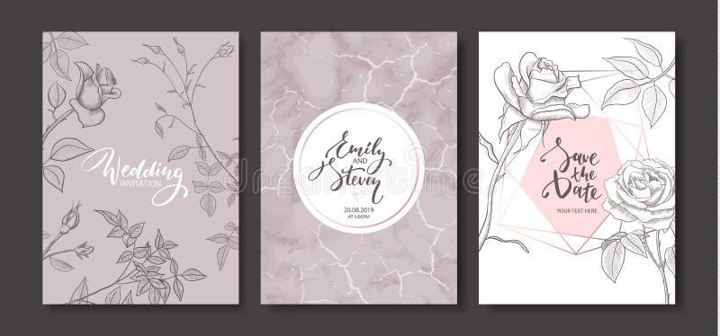 Cartões do convite do casamento com textura de mármore e as rosas tiradas mão O cartaz floral, convida Cartão decorativo do vetor ilustração stock