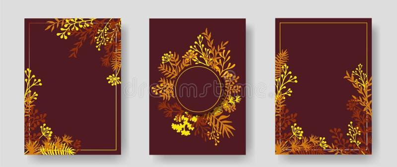 Cartões do convite com galhos ervais e ramos ilustração royalty free