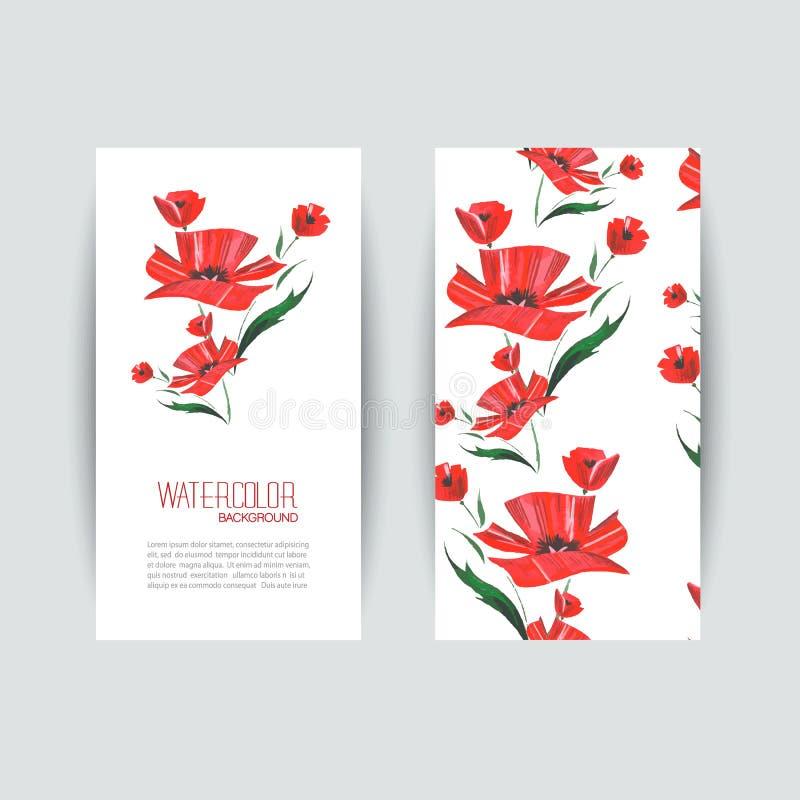 Cartões do convite com uma papoila vermelha para seu projeto ilustração stock