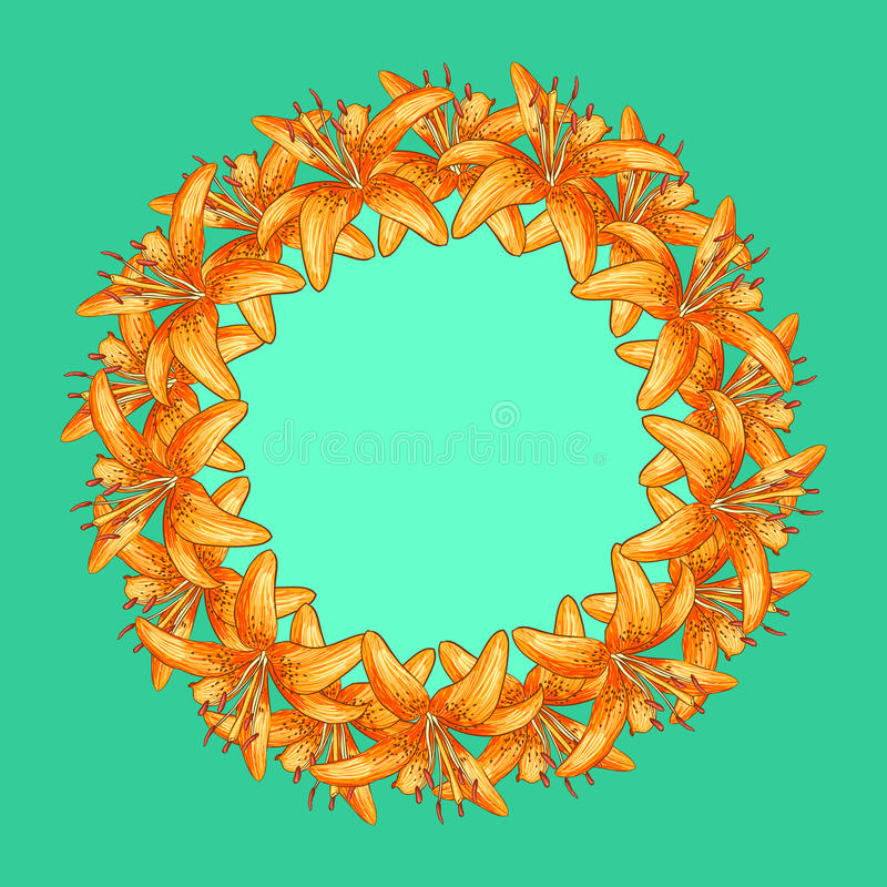 Cartões do convite do cumprimento com flores alaranjadas ilustração royalty free